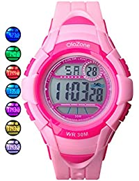 Kids Watches Girls Digital 7-color Flashing Light Water...