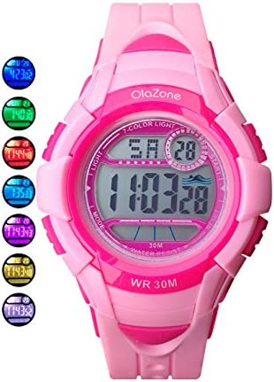 Kids Watches Girls Digital 7-color Flashing Light Water Resistant 100FT Alarm Watch for Kid age 4-12 481 (pink)