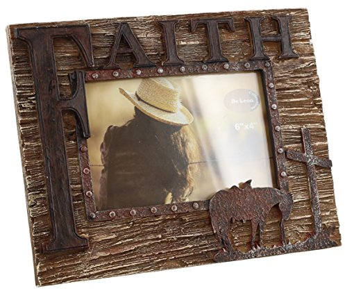 Rustic Look Faith 4x6 Picture Frame with Horse and Cross