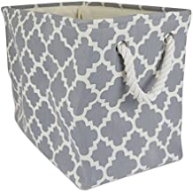 """DII Collapsible Polyester Storage Basket or Bin with Durable Cotton Handles, Home Organizer Solution for Office, Bedroom, Closet, Toys, & Laundry (Medium – 16x10x12""""), Gray Lattice"""