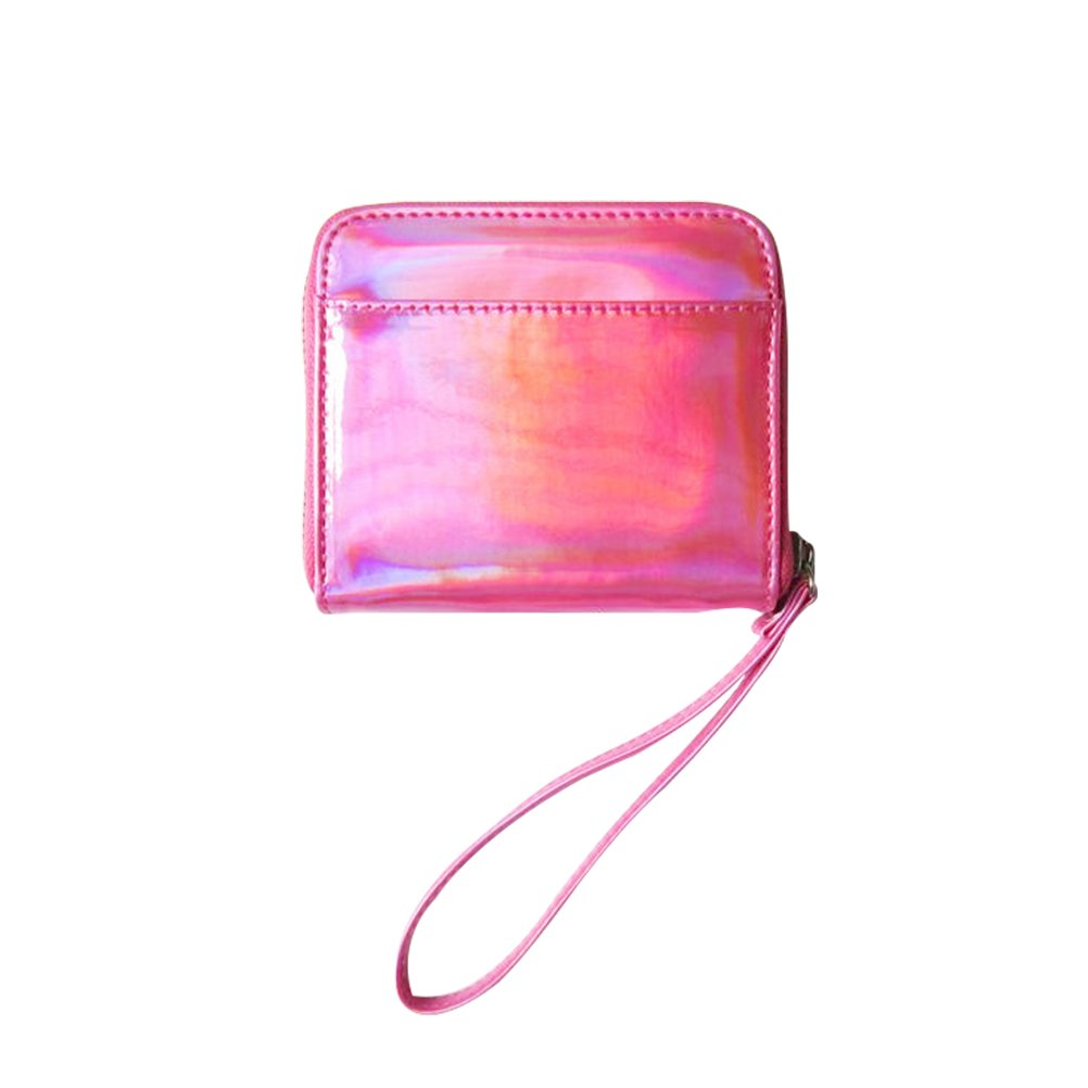 OULII mujeres Holographic Purse PU Wristlet Clutch cartera