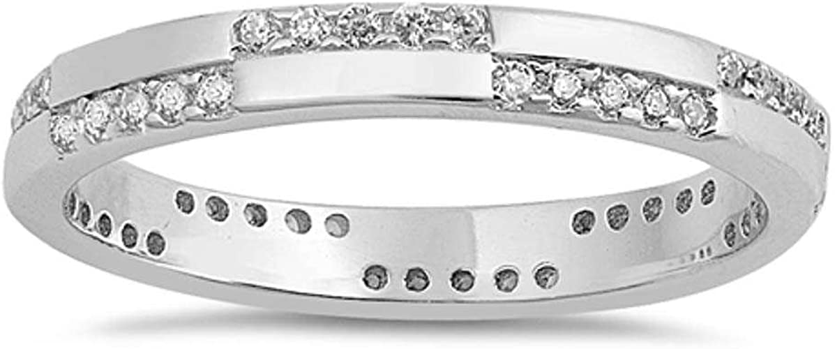 Amazon Com Oxford Diamond Co Sterling Silver Modern Eternity