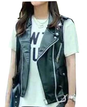 24699d1bab5c heymoney Women Lapel Faux Leather Sleeveless Jacket Motorcycle Waistcoat  Vest at Amazon Women's Coats Shop