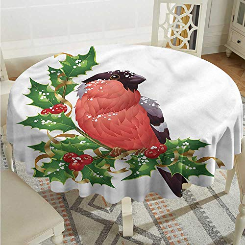 Tim1Beve Birds Washable Round Tablecloth Bullfinch Bird Winter Berries Table Cover for Dining D54 INCH