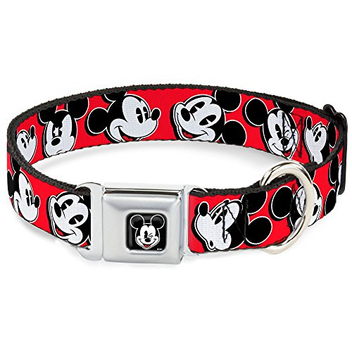 Buckle-Down Seatbelt Buckle Dog Collar - Mickey Mouse Expressions Red/Black/White - 1