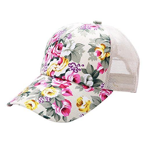 Riiya 2018 Womens Flowers Embroidered Baseball Cap Lady Fashion Sun Hat for Hiking Climbing Jogging