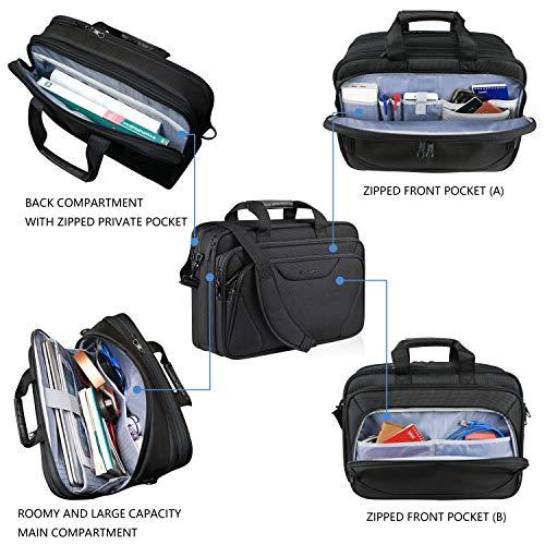 KROSER 18'' Laptop Bag Premium Laptop Briefcase Fits Up to 17.3 Inch Laptop Expandable Water-Repellent Shoulder Messenger Bag Computer Bag for Travel/Business/School/Men/Women-Black by KROSER (Image #3)
