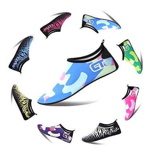 LUUB Männer und Frauen Quick-Dry Sport Barfuß Wasser Haut Schuhe Aqua Socken für Beach Pool Sand Schwimmen Surf Yoga Wassergymnastik Hellblau