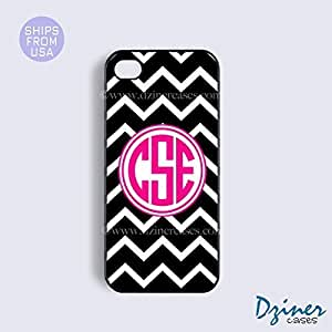 Personalized Your Initials Case Cover For HTC One M9 model - Black White Chevron Hot Pink Circle