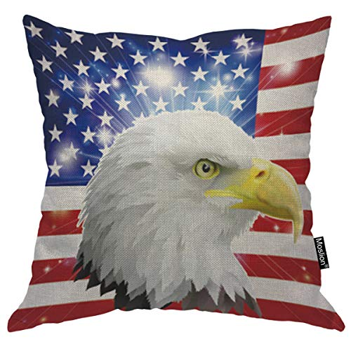 Moslion Eagle Pillows Bald Eagle Head in American Flag Patriotic Army Stripe Star Blue Red White Throw Pillow Cover Decorative Square Accent Cotton Linen Home Pillow Case 18X18 Inch
