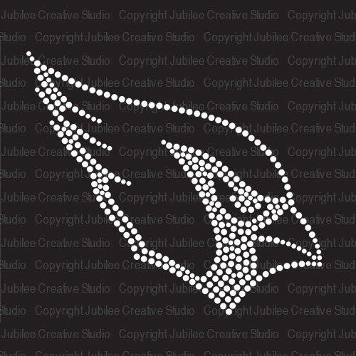 Cardinal Head Iron On Rhinestone Crystal T-Shirt Transfer by JCS Rhinestones