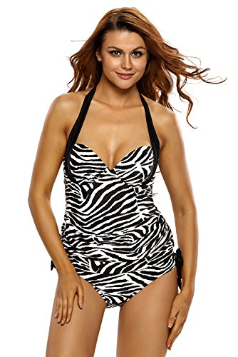 Aleumdr Women's Tankini Triangle Briefs Swimsuit Halter Printing Strips XL