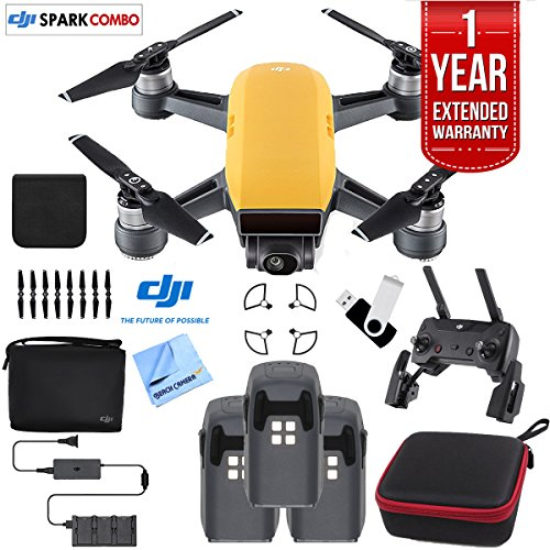 Price comparison product image DJI SPARK Fly More Drone Combo Sunrise Yellow - CP.PT.000900 Triple Battery Bundle