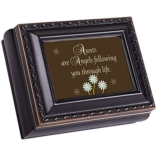 Cottage Garden Aunt Distressed Black Tiny Square Treasure Box