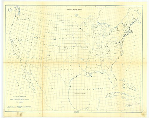 Juno Canvas (18 x 24 Canvas 1897 USA old nautical map drawing chart of 6. Map showing positions of magnetic stations occupied between 1814 and Juno 30, 1897. From US Coast & Geodetic Survey x12105)