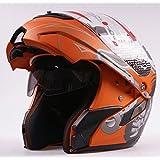 Ama_TrulyStep New Dual / 2 Visors Modular Motorcycle Scooter Vespa Full Open Face Flip Up Helmet