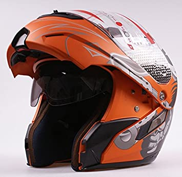 Ama_TrulyStep New Dual / 2 Visors Modular Motorcycle Scooter Vespa Full Open Face Flip Up Helmet