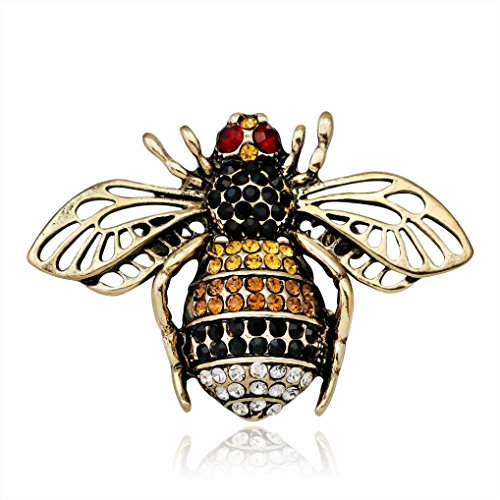 Botrong Brooches for Women, Fashion Chic Crystal Rhinestone Bee Retro Bronze Brooch Artificial Diamond Jewelry (Gold)