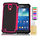 32nd® Shock proof defender dual case cover for Samsung Galaxy S4 Active i9295 + screen protector, cleaning cloth and touch stylus - Hot Pink