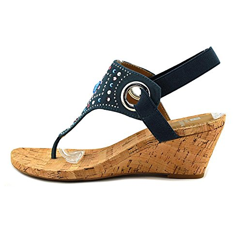 Open Blue Sandals Toe Mountain Womens Multi Wedged White Fabric Casual Adeline SwTpBqw4n