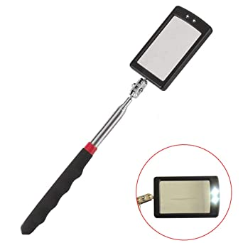 Telescopic Inspection Mirror Rectangular Extending Inspection Swivel Extend Tool 360 Degree Rotating with 2 Extra Bright LED Light