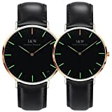 Her or His Couple Tritium Gas Luminous Quartz Ultra Simple Wrist Watches Blue or Green Light Gift Set 2 (Black Band-Rose Gold Case-Green Light)