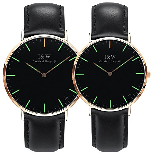 Her or His Couple Tritium Gas Luminous Quartz Ultra Simple Wrist Watches Blue or Green Light Gift Set 2 (Black Band-Rose Gold Case-Green Light) by MASTOP