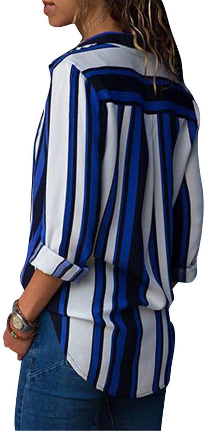 G Anica Chemise Femme Chemisier Mousseline de Soie Boutonné T Shirt Rayé Tunique Femme Chic Manches Longues Lâche Tops Blouse Casual Pull Haut Col V