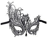 Luxury Mask Women's Swan Metal Filigree Laser Cut Masquerade Mask, Black/Clear Stones, One Size