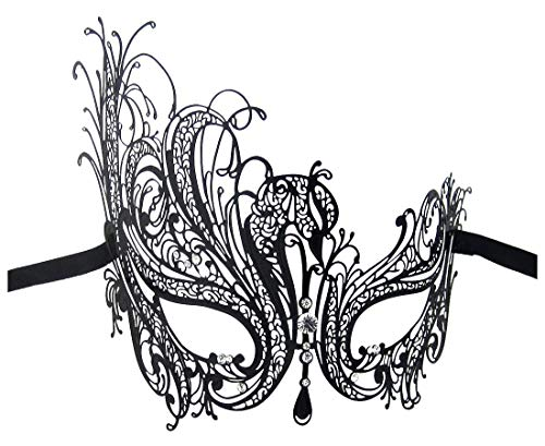 Luxury Mask Women's Swan Metal Filigree Laser Cut Masquerade Mask, Black/Clear Stones, One -