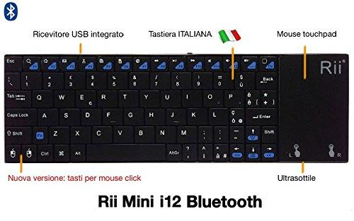 88 opinioni per Rii Mini i12 Bluetooth (layout ITALIANO)- Tastiera bluetooth ultrasottile con