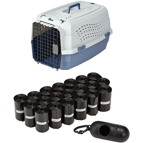 AmazonBasics 23-Inch Two-Door Top-Load Pet Kennel with 300 Pack AmazonBasics Dog Waste Bags