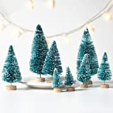 UUsave 24Pcs Assorted Size Mini Sisal Trees Snow Frost Trees Bottle Brush Trees Plastic Winter Snow Ornaments Tabletop Trees DIY Room Decor Home Table Top Decoration (24)