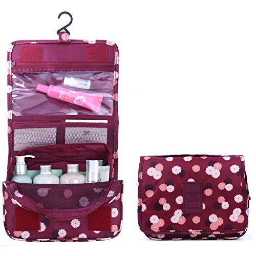 TZWNS Waterproof Lady Beauty Travel Kit Holder Organizer Bathroom Storage Cosmetic Makeup Bag Carry Case Pouch Organizer Toiletry Travel Wash Bag with Hanging Hook for Women Men (Polka Dot Red)