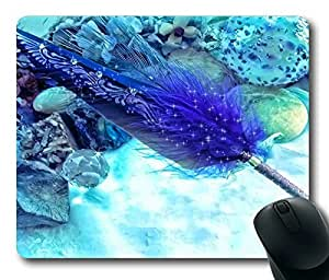 Beautiful Cyan Feather Masterpiece Limited Design Oblong Mouse Pad by Cases & Mousepads