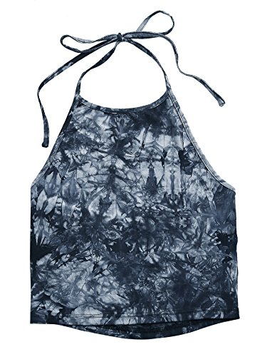 Romwe Women's Casual Tie Dye Sleeveless Vest Halter Cami Tank Top - stylishcombatboots.com