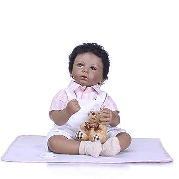 NACHEN Reborn bebé muñecas Negro Piel Suave Silicona Vinilo Kid ...