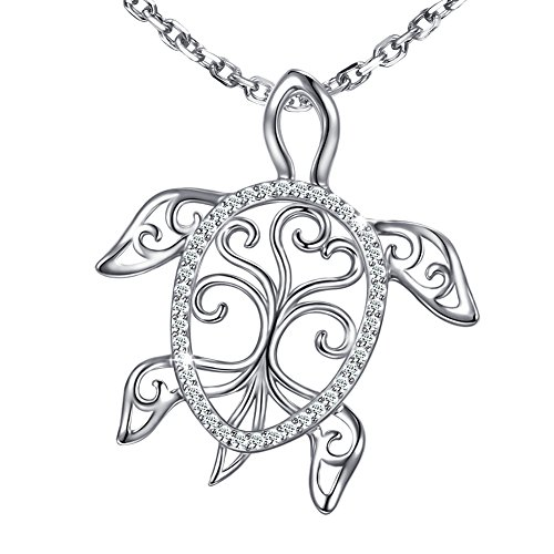 MANBU 925 Sterling Silver Charm Sea Turtle Unique Tree of Life Pendant Necklace Tortoise Animal Jewelry for Women Girl ()