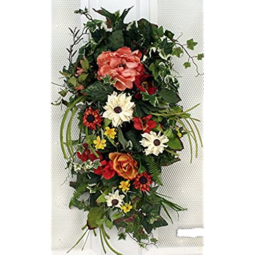 Spring Bloom Silk Tear Drop Swag 28 In   Beautiful Alternative To A Wreath  For The Front Door