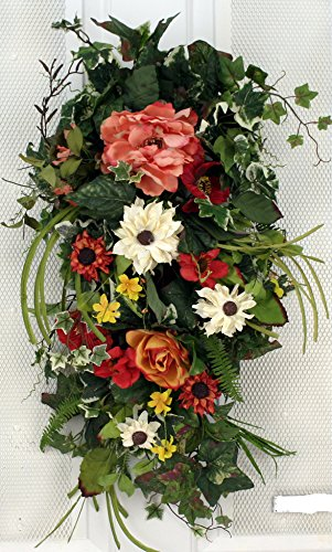 Spring Bloom Silk Tear Drop Swag 28 in - Beautiful Alternative to a Wreath For The Front - Summer Swag