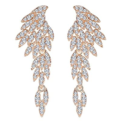 mecresh Clear/Black/Gold/Multicolor Crystal Wing Fashion Dangle Earrings