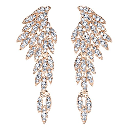 Crystal Fashion Dangle Earrings - mecresh Gold Crystal Wing Fashion Dangle Earrings for Women