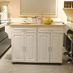 Farmhouse Kitchen Modern Kitchen Cart with Wooden Top and Wheels for Dining Room, Farmhouse Style Kitchen Island with Spice Rack Towel… farmhouse kitchen islands and carts