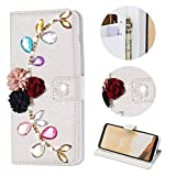 Stysen for Huawei P20 Lite Wallet Case,for Huawei P20 Lite Bling Flip Case,Luxury Premium Handmade 3D Jewelry Glitter Diamond Rhinestone Flower Design Magnetic Closure PU Leather Shiny Sparkle Crystal Kickstand Folio Case with Card Slots Bookstyle Buckle Protective Skin Cover Case for Huawei P20 Lite-Diamond Flower
