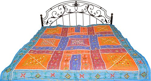 Multicolor Embroidered Bedspread from Kutch with Patchwork and Mirrors - Pure Cotton by Exotic India