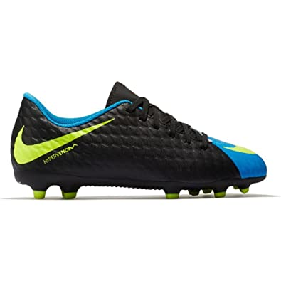 designer fashion 9168e 48c88 NIKE Kids' Hypervenom Phade III FG Soccer Cleats (3.5, Black/Blue)