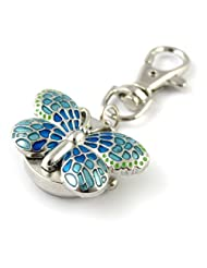 MapofBeauty Gorgeous Key Chain Ring With Butterfly Pendent Pocket Quartz Watch (Blue)