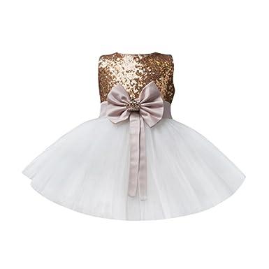 5d52b5362eddd Longra Robe Bébé Fille Princesse Noeud Papillon Tutu Tulle Robe Bébé Fille  Robe en Dentelle Anniversaire