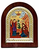 Mary Gabriel The Annunciation Catholic Icon 7.2'' Silver Frame Jerusalem Holyland