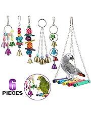 YOUTHINK 6 Pezzi/Set Legno colorato e Metallo Uccello per Animali Domestici Altalena Giocattolo Campane Gabbia per pappagalli appesa per Piccoli e Medi